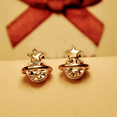 Pair of Five Pointed Star Shape Rhinestone Embellished Earrings - AS THE PICTURE