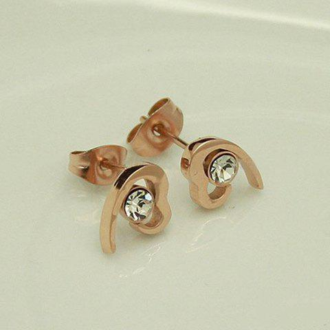 Pair of Elegant Ladylike Style Rhinestone Embellished Women's Heart-Shaped Earrings -  AS THE PICTURE