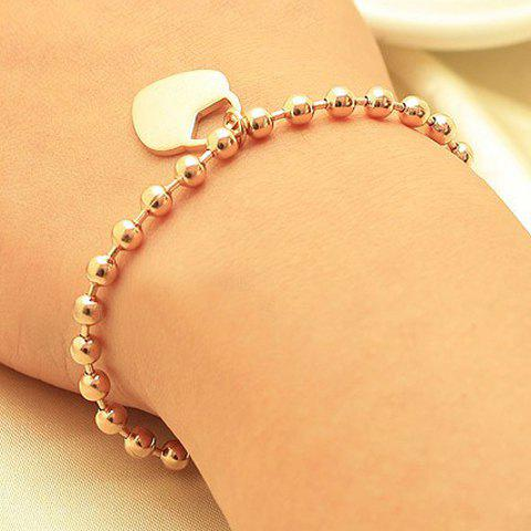Exquisite Stylish Love Heart Dangle Women's Bead Bracelet - GOLD ONE SIZE