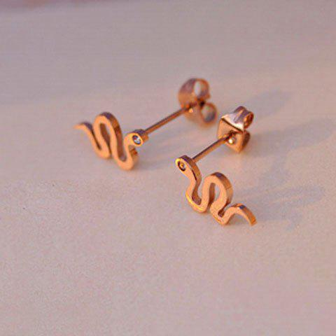 Pair of Fashion Snake Shape Titanium Steel Women's Stud Earrings - GOLD