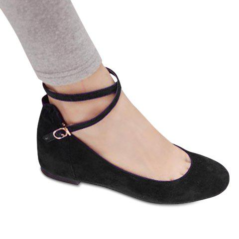 Vintage Style Suede Solid Color and Cross Straps Design Women's Flat Shoes