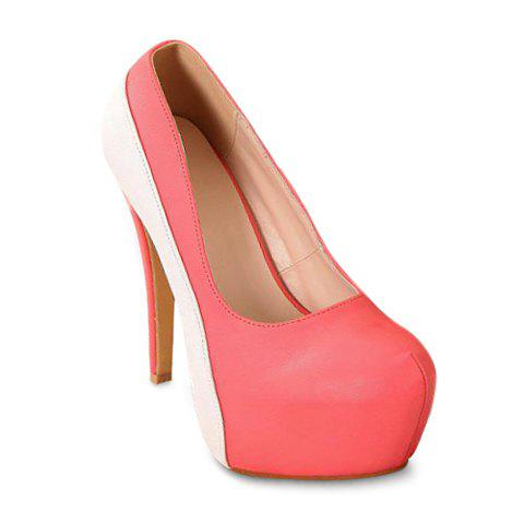 Party Color Block PU Leather Design Women's Spring Pumps - WATERMELON RED 37