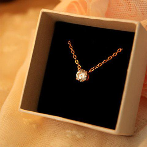 Forme élégante Ladylike strass style boule Collier Pendentif embellies femmes - Or