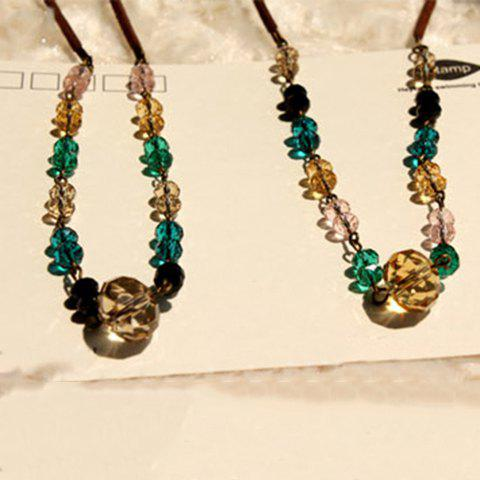 Elegant Colorful Rhinestone Embellished Women's Beads Necklace - AS THE PICTURE