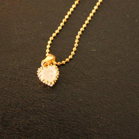 Faux Crystal Heart Shaped Pendant Necklace - AS THE PICTURE