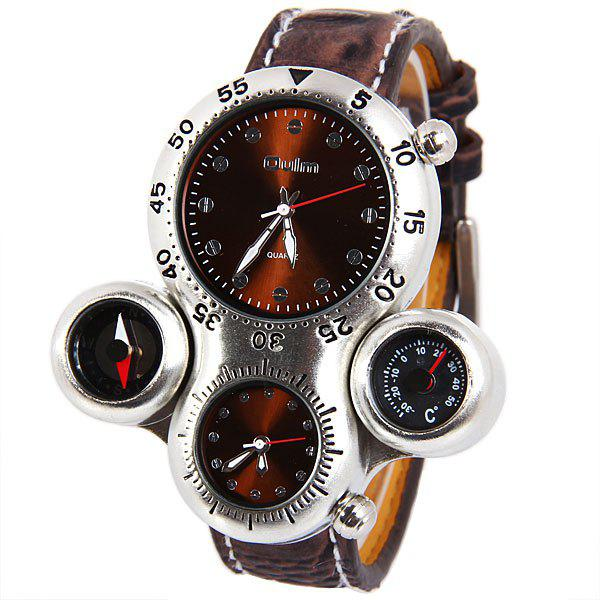 Top Brand Oulm Multi-function Quartz Wrist Watch with Leather Watchband for Male
