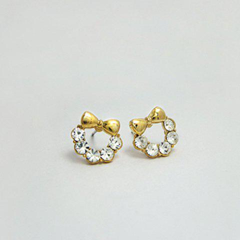 Pair of Elegant Ladylike Style Rhinestone Bowknot Shape Women's Earrings - AS THE PICTURE