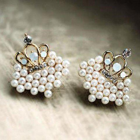 Pair of Elegant Ladylike Style Pearl Imperial Crown Shape Women's Earrings - AS THE PICTURE