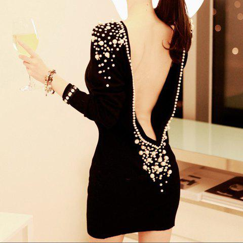 Luxury Boat Neck Faux Pearl Embellished Backless Long Sleeve Black Over Hip Club Women's Dress - BLACK ONE SIZE