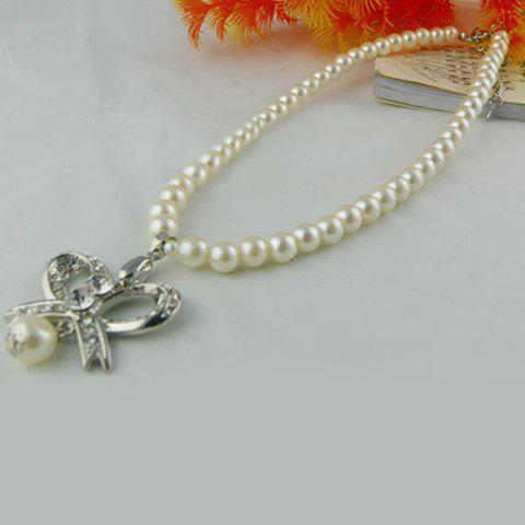 Elegant Rhinestoned Flower Pendant Women's Faux Pearl Necklace - AS THE PICTURE