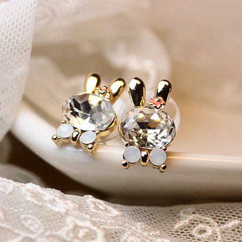 Pair of Elegant Ladylike Style Zircon Rabbit Shape Women's Earrings -  AS THE PICTURE