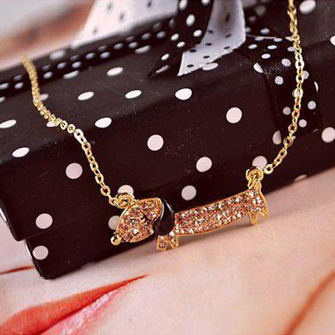 Sweet Rhinestone Embellished Doggy Pendant Women's Necklace - COLOR ASSORTED