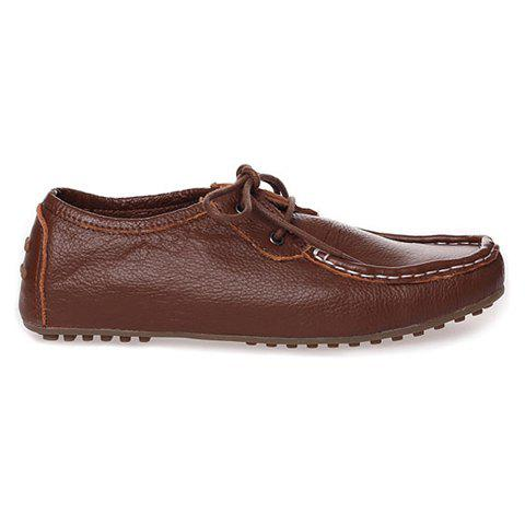 Casual PU Leather Vintage Lace-Up Design Women's Spring Flat Shoes - BROWN 37
