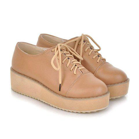 New Arrival Vintage PU Leather and Lace-Up Design Spring Platform Shoes For Women - APRICOT 38