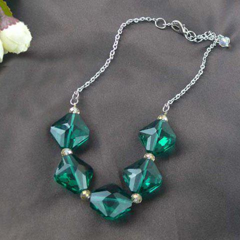 Fashion Rhombus Rhinestone Embellished Necklace For Women - AS THE PICTURE