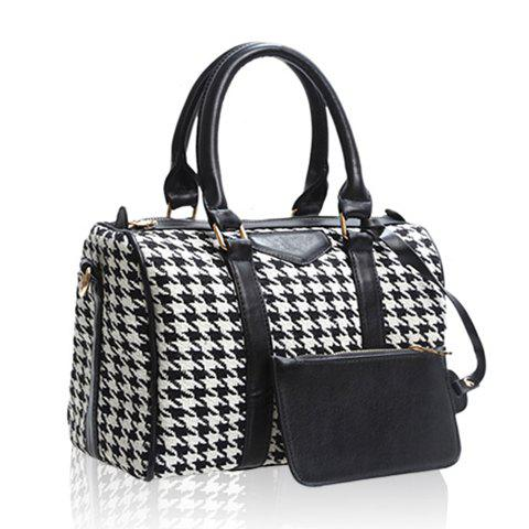 New Arrival Bucket Shape PU Leather Checked Design Tote For Women - CHECKED
