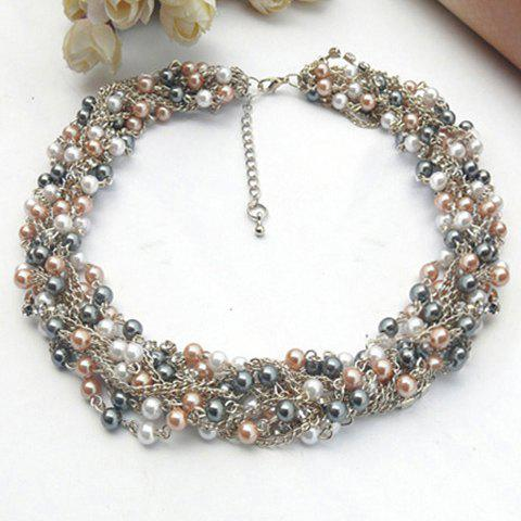 Stylish Fashion Faux Pearl Embellished Necklace For Women - COLORMIX