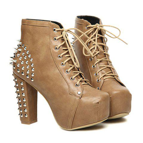 Western Style Party PU Leather Rivets Platform Design Spring Short Boots For Women - LIGHT KHAKI 39