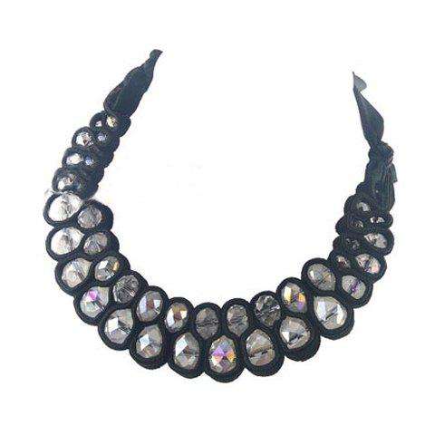 Faux Crystal Embellished Double Deck Necklace - COLORMIX