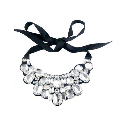 Fashion Vintage Rhinestone Embellished Ribbon Necklace For Women - COLOR ASSORTED