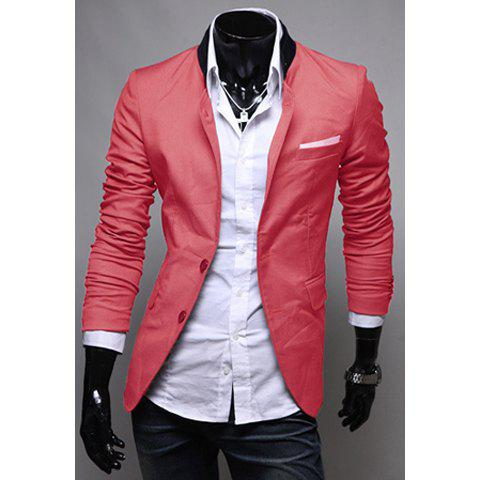 Spring Fashion Style Pocket Applique Design Solid Color Blazer For Men - WATERMELON RED M