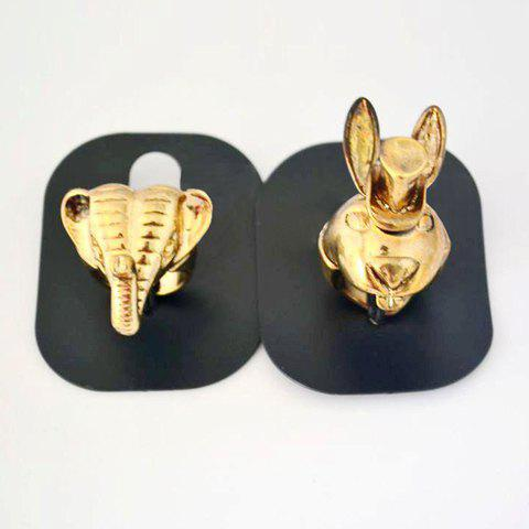 Stereo Alloy Elephant Shape Finger Ring - COLOR ASSORTED ONE SIZE