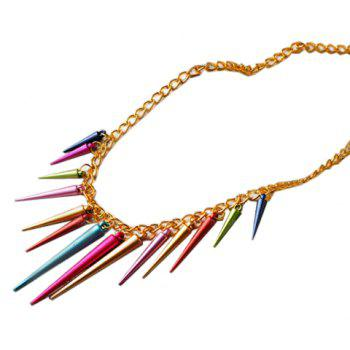 Retro Style Colorful Rivet Pendant Women's Necklace - AS THE PICTURE AS THE PICTURE