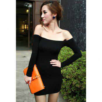 Women's Alluring Boat Neck Long Sleeved Mini Club Dress