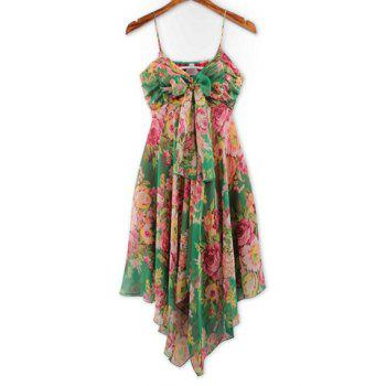 Refreshing Colorful Tiny Floral Print (Without the Tie) Chiffon Dress For Women