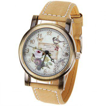 Astina Quartz Watch with 12 Numbers Indicate Leather Watchband for Women (Yellow)
