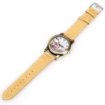 Astina Quartz Watch with Arabic Numbers Indicate Leather Watchband for Women (Yellow) - YELLOW