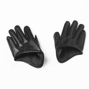 Pair Of Stylish Women's Gloves With Solid Color Faux Leather Half Palm Design - BLACK BLACK