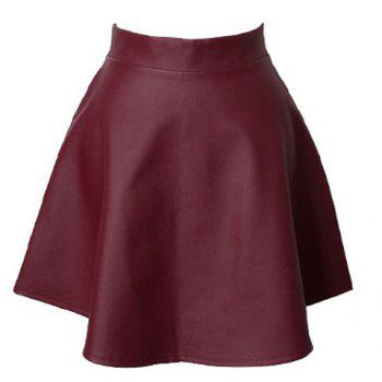 Modern Style Solid Color PU Leather High-Waist Women's Skirt