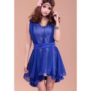 Charming Solid Color Irregular Flounce Hem Chiffon Dress For Women