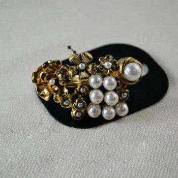 Faux Pearl Embellished Flower Double Ring