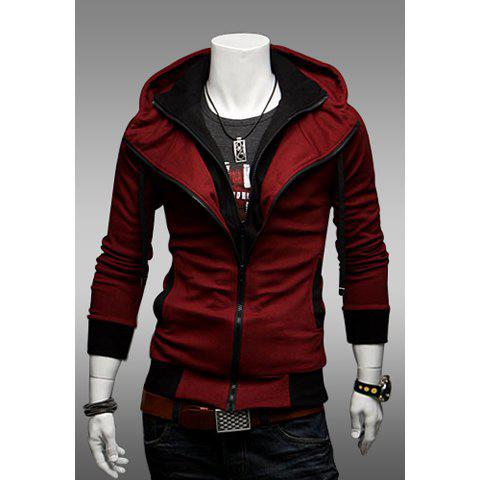 Faux Twinset Polyester Men's Hooded Spring Sweatshirt - RED L
