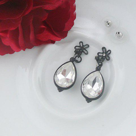 Pair of Chic Vintage Rhinestoned Waterdrop Earrings For Women