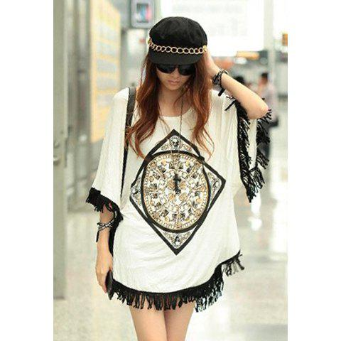 Loose-Fit Stylish Women's Spring T-Shirt With Tassel Hem Batwing Sleeve Design - WHITE ONE SIZE