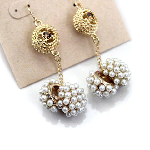 Pair of Sweet Exquisite Style Beads Embellished Earrings For Women - AS THE PICTURE