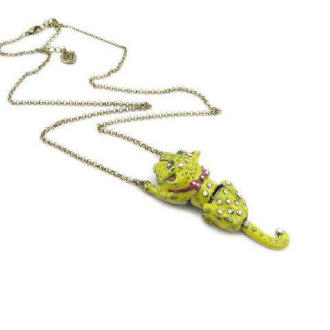 Tiger Shape Rhinestone Pendant Necklace - AS THE PICTURE