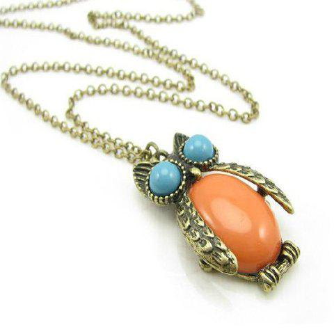 Cute Style Night Owl Shape Rhienstone Necklace For Women - AS THE PICTURE