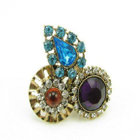 Retro Style Disc and Oval Shape Rhinestone Embellished Ring For Women