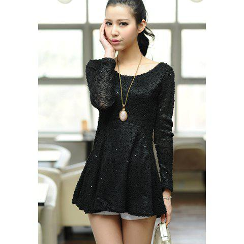 Sequin Embellished Long Sleeve Dress For Women - BLACK ONE SIZE