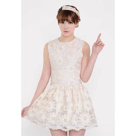 Round Neck Embroidered Large Hem Women's Sleeveless White Lace Dress - WHITE S