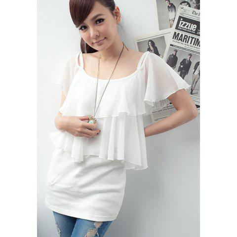 2013 Big Flouncing Design Sleeveless Chiffon Blouse For Women - WHITE ONE SIZE