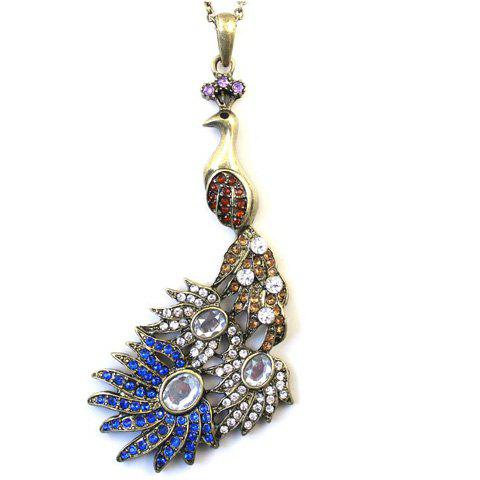 Retro Hot Sale Style Rhinestone Peacock Shape Pendant Embellished Sweater Chain Necklace For Women - GOLD