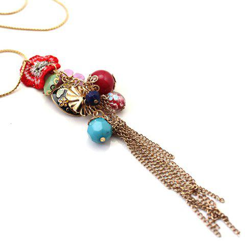 Chic Sweet Flower Tassels Pendant Necklace For Women - AS THE PICTURE