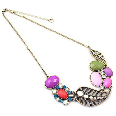 Chic Graceful Colorful Gemstone Pendant Necklace For Women - AS THE PICTURE