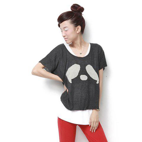 Stylish Blocking Color Abstract Print Short Sleeves T-Shirt For Women - GRAY ONE SIZE