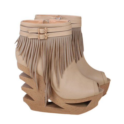New Arrival PU Leather and Openwork Tassels Design Spring Peep-Toed Shoes For Women - KHAKI 35